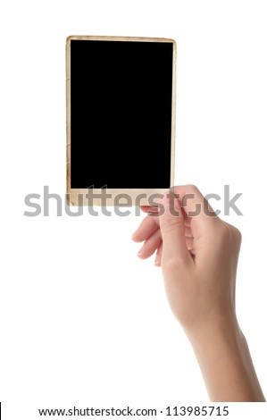 Women hand holding photo frame