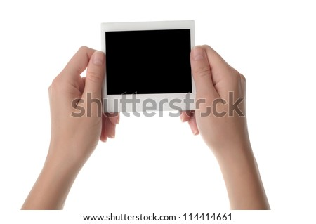 Women hand holding photo frame