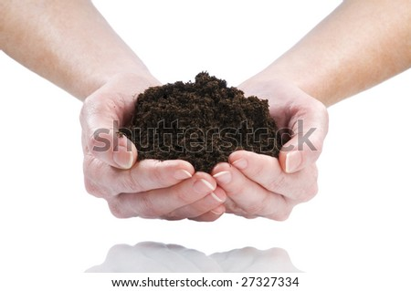 women hand holding soil isolated on white