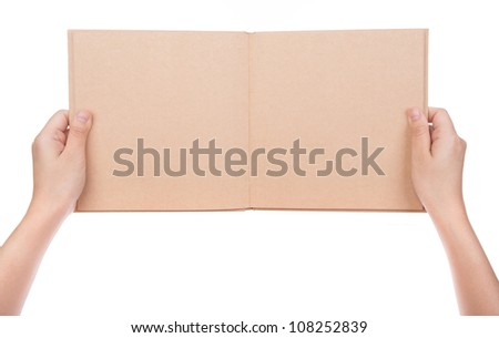 Women hand holding  vintage book isolated on white background