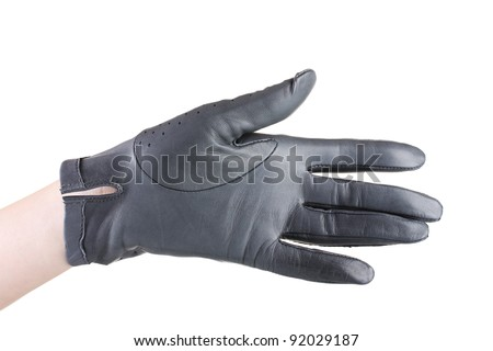women hand in gray leather glove isolated on white