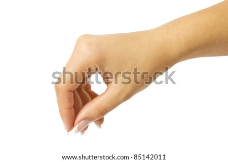 women hand on the white backgrounds