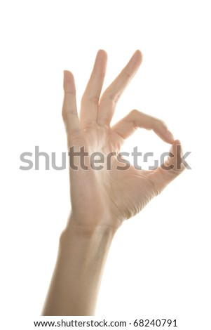 Women hand shows the sign of OK. Isolated on white background