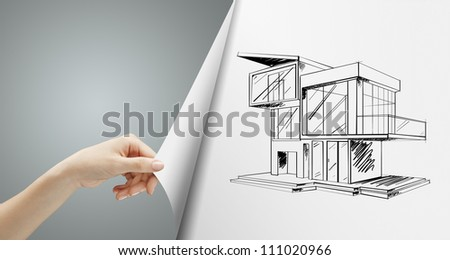 women hand turns gray page with cottage