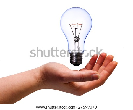 women hand with lamp bulb on white with clipping path
