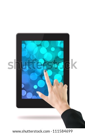 Women hand with tablet computer. Isolated on white background.