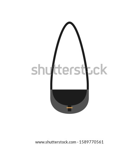Women handbags in flat style. Illustration of black bag with pocket and lace