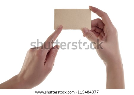 Women hands holding blank card