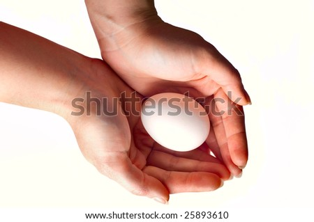 women hands with egg isolated