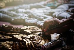 Women hands working to create handcraft art.