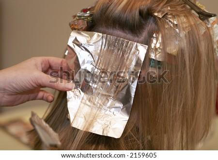 women having hair foiled