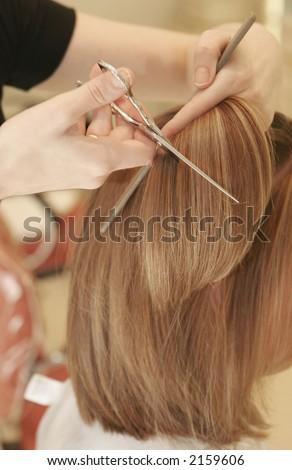 women having her hair cut
