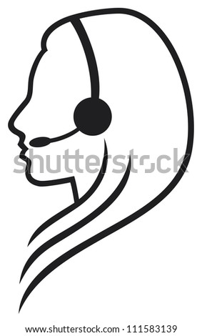 women headset support phone operator in headset