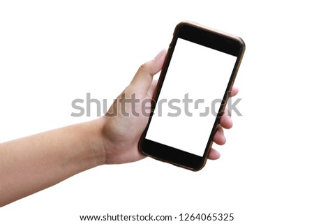 Women holding hands blank smart phone display on a white background. Focus on the hand #1264065325