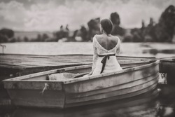 Women in a boat. This image was created with the method called