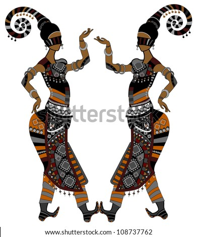 Women in ethnic style dancing on a white background