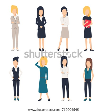 Women in office clothes. Beautiful woman in business clothes. Businesswomen picture, illustration