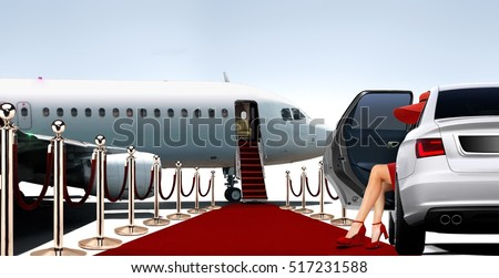 Women in red getting ready to boarding a private plane