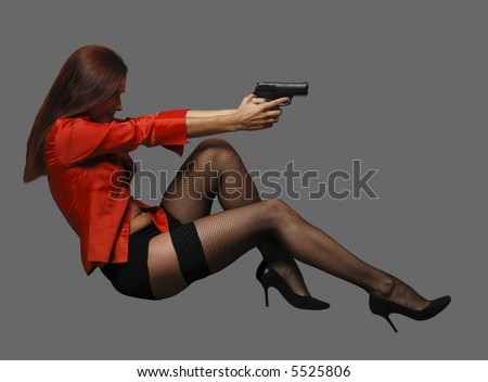 Women in red with big black gun
