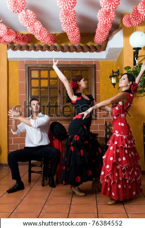 women in traditional flamenco dresses dance during the Feria de Abril on April
