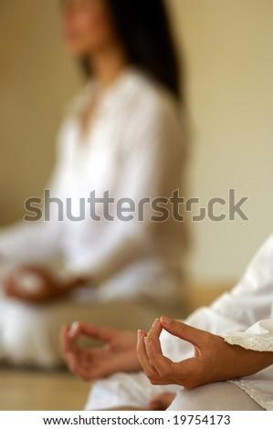 Women in yoga position