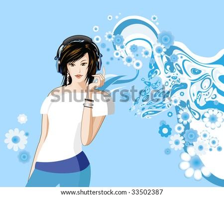 Women is listening to music. Raster version of vector illustration.