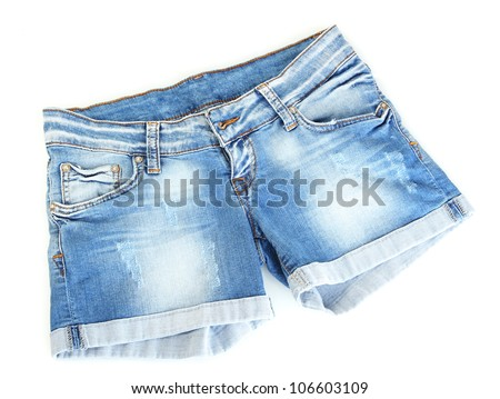 women jeans shorts isolated on white background - stock photo