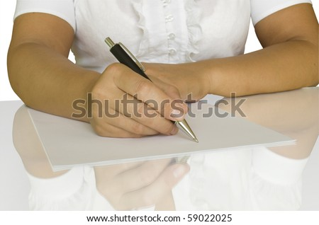 women keep pen and write on the white page with reflection