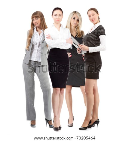 women leader of team with file over white background