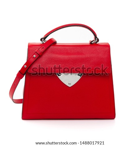 women leather handbags isolated on white background