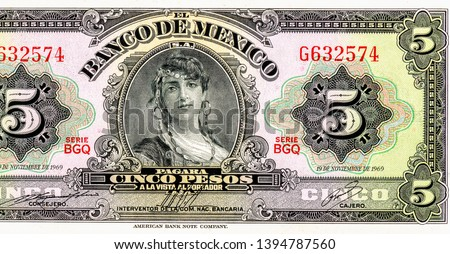 Women Mexico portrait on Mexico 5 pesos (1963) banknote, Close Up UNC Uncirculated Collection.