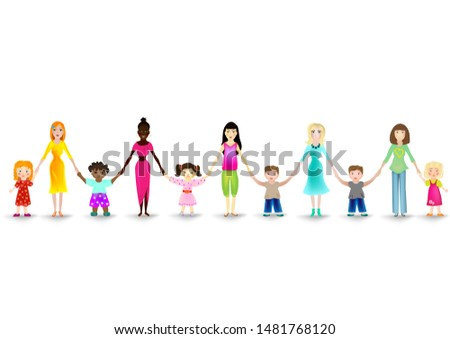 Women of different ethnicities with daughters and sons. Girls and boys hold the hands of their moms. Moms with their children on a white background. Mothers Day. Friendly team of women with children.