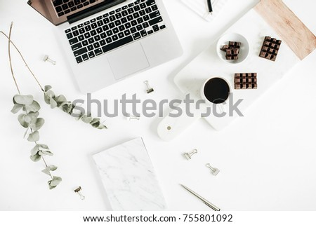Women office desk with laptop, coffee and chocolate, marble notebook. Flat lay, top view lifestyle concept. #755801092