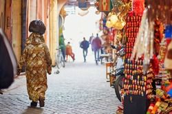 Women on Moroccan market (souk) in Marrakech, Morocco
