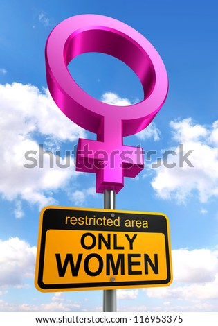 women only area road sign pink and ellow on sky background. clipping path included