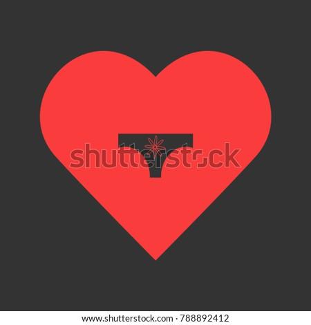 Women panties icon flat. Simple pictogram on heart background. Illustration symbol