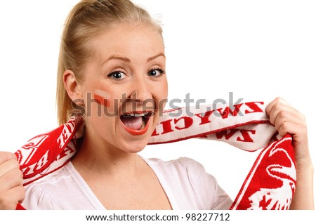 Women - Polish soccer fan. Dressed in Polish national color and scarfs.