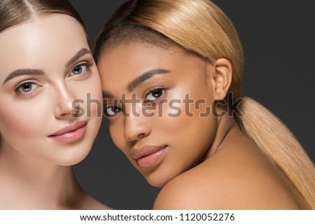 Women portrait mix races black skin and white skin female beauty