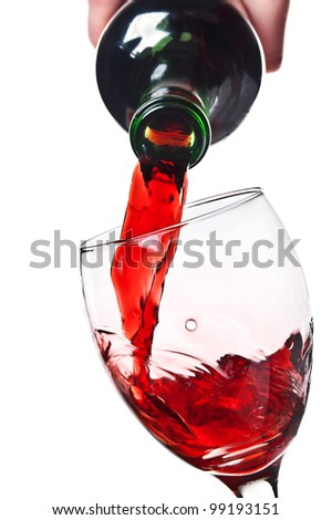 Women pouring red wine into a glass isolated on a white background