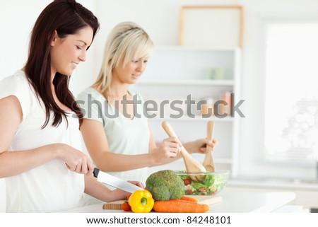 Women preparing dinner in a kitchen