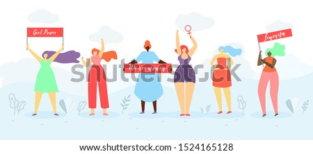 Women Rights and Girls Power Flat Concept or Banner. Multinational Feminist Female Activist Standing Together, Holding Placards with Slogans, Fighting for Sexes and Gender Equality Illustration