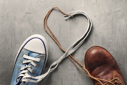 women's and men's shoes with laces from the heart