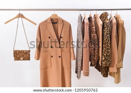 Women's blouses with classic animal print pants and handbag , snake pattern handbag ,coat, jacket, sweater, handbag on hangers