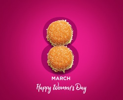 Women's day March 8 number symbol by burger. Holiday restaurant women's day concept with burger. burger on 8 shape isolated on color background.