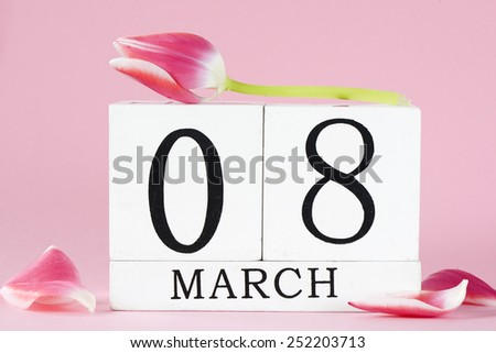 Women\'s Day with tulip flower. 8 march background,Happy Women\'s Day with tulip flower