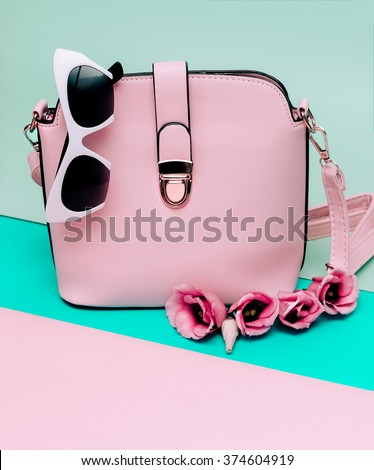 Women\'s Fashion Accessories. Bag and Sunglasses. Pastel Colors trend Summer