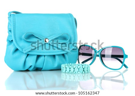 Women's fashion accessories isolated on white