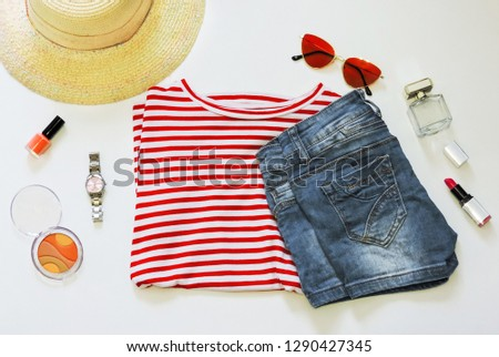 df3091df498a Women's fashion clothes and accessories on white background. Top view.  Summer casual style.