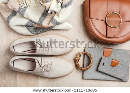 women's flat lay clothes shoes, scarf, bracelet, bag, tablet, smartlphone. Fashion blog, clothing, shopping #1111718606