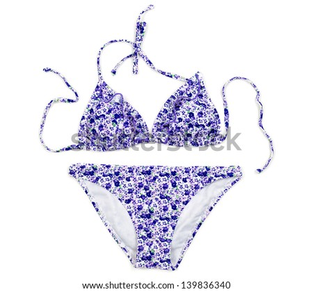 Women's floral swimsuit, isolate on white background